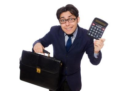 fraudster: Uomo divertente con calcolatrice isolato su bianco Archivio Fotografico