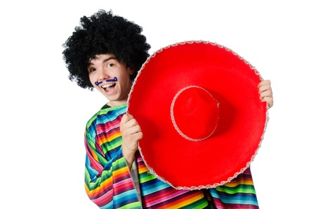 afro hairdo: Funny young mexican with false moustache isolated on white Stock Photo