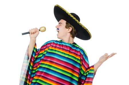 Funny young mexican sings isolated on white photo