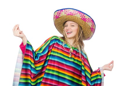 traje mexicano: Muchacha bonita en poncho mexicano aislado en blanco Foto de archivo
