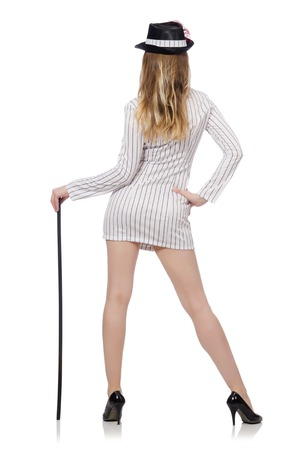 Beautiful girl in striped clothing isolated on white photo