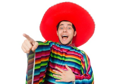 poncho: Funny mexican wearing poncho isolated on white