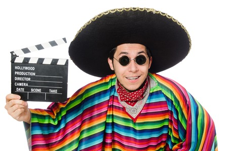 poncho: Funny mexican in poncho with clapper-board isolated on white