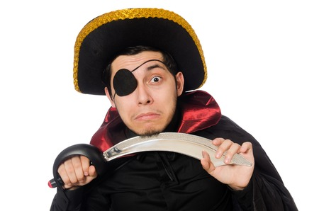 one eyed: One eyed pirate with sword isolated on white Stock Photo
