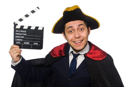clapperboard: Young pirate holding clapperboard isolated on white