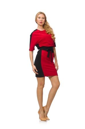 rouge et noir: Belle dame en rouge robe noire isol� sur blanc Banque d'images