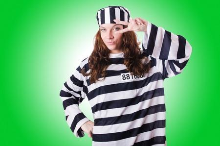 prisoner ball: Convict criminal in striped uniform Stock Photo