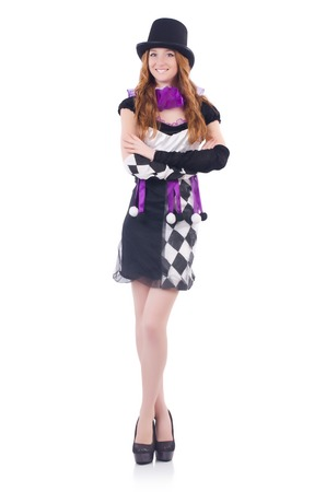 buffoon: A girl in harlequin costume isolated on white