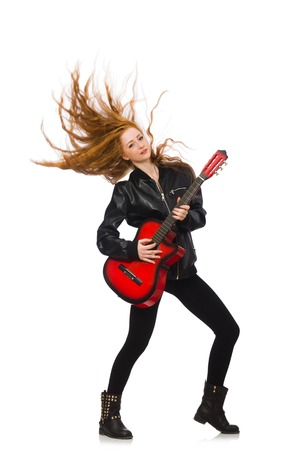 Pretty girl with guitar isolated on white photo