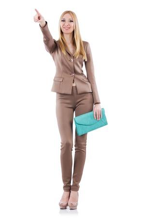 businesslady: Beautiful businesslady in elegant suit isolated on white
