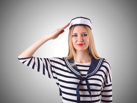 Woman sailor in marine concept photo