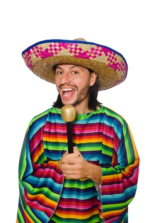 poncho: Handsome man in vivid poncho holding maracas isolated on white