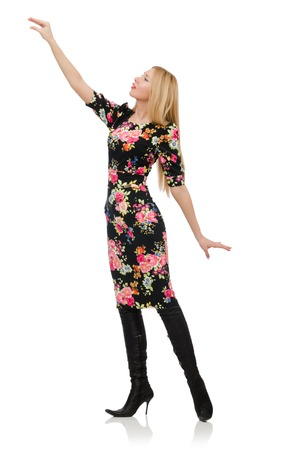 pret a porter: Cute blonde girl in floral dress isolated on white
