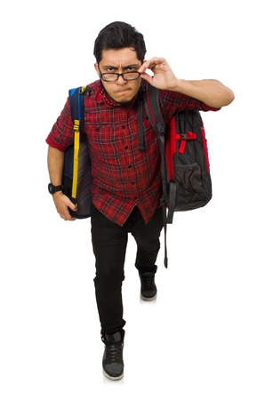 packsack: Young man with bags isolated on white