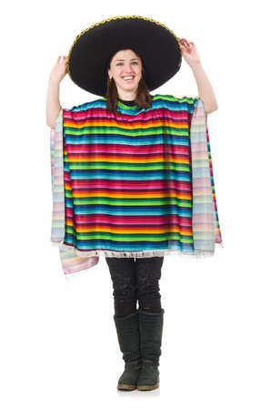 mexican girl: Pretty mexican girl in vivid poncho isolated on white