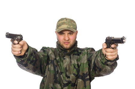 infantryman: Solider holding gun isolated on white