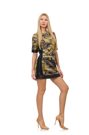 pret a porter: Woman in military style dress isolated on white