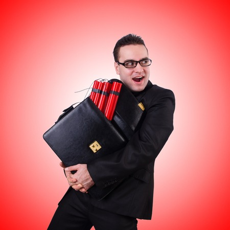 dynamite: Businessman with dynamite isolated on white Stock Photo