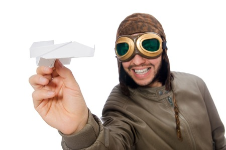 wartime: Funny pilot isolated on the white Stock Photo