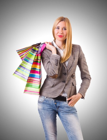 after shopping: Young woman with bags after shopping Stock Photo