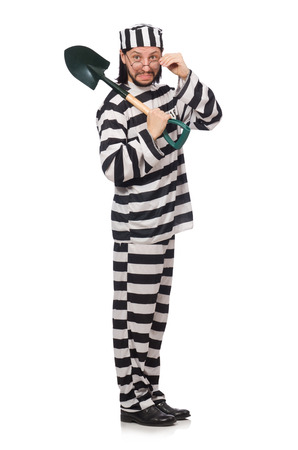 inmate: Prison inmate with spade isolated on white Stock Photo