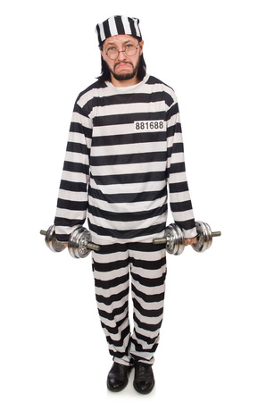 lawbreaker: Prison inmate with dumbbells isolated on white