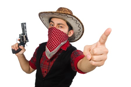 Young cowboy with weapon isolated on white photo