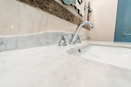 Modern elegant sink in bathroom Stock Photo
