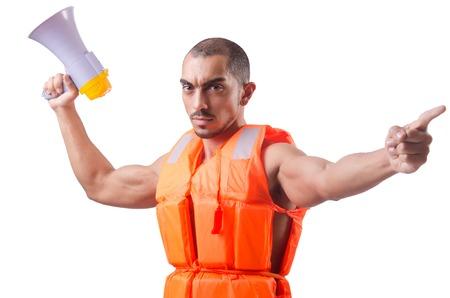 lifejacket: Man wearing vest with loudspeaker