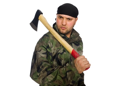 infantryman: Young man in soldier uniform holding axe isolated on white