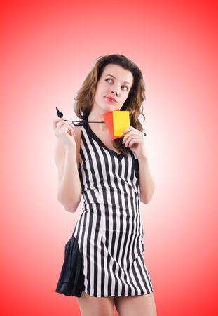 arbitrator: Woman referee with card on white Stock Photo