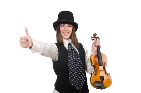 violin player: Woman violin player isolated on white Stock Photo