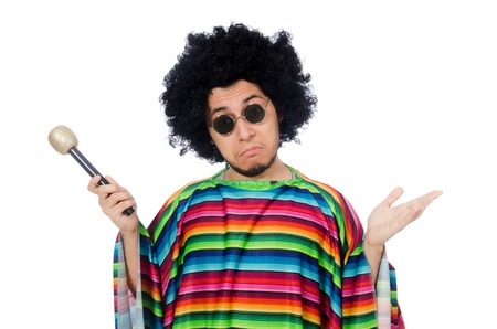 poncho: Funny mexican wearing poncho with maracas isolated on white