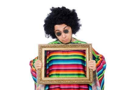 passepartout: Funny mexican with photo frame isolated on white Stock Photo
