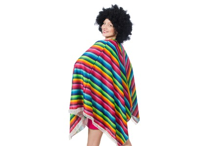 afro hairdo: Pretty girl in mexican poncho isolated on white Stock Photo