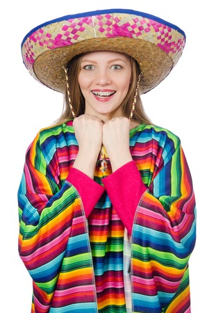 poncho: Pretty girl in mexican poncho isolated on white Stock Photo