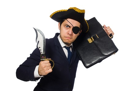 one eyed: One eyed pirate with briefcase and sword isolated on white Stock Photo