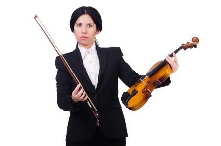 violin player: Woman with violin isolated on the white Stock Photo