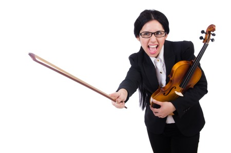 solo violinist: Woman with violin isolated on the white Stock Photo