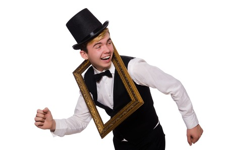 passepartout: Young gentleman holding frame isolated on white