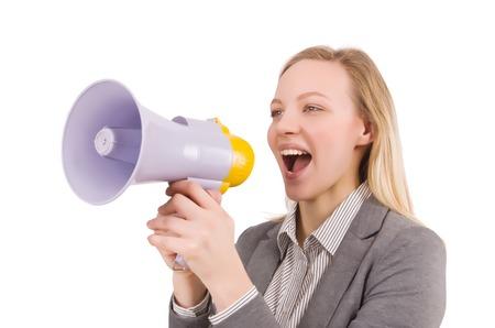 businesslady: Businesslady with megaphone isolated on white