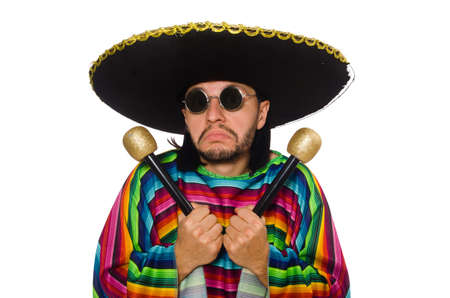 mexican background: Handsome man in vivid poncho holding maracas isolated on white