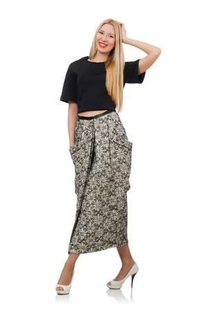 pret a porter: Pretty woman in long skirt isolated on white