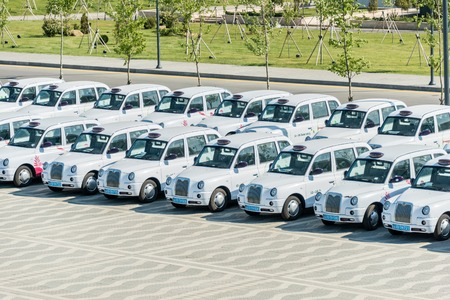 ancient olympic games: BAKU - MAY 10, 2015: London Cabs on May 10 in BAKU, Azerbaijan. London Cabs were brought to Baku to support the first European Games