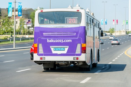 azeri: BAKU - MAY 10, 2015: Poster at back of the bus on May 10 in BAKU, Azerbaijan. Baku Azerbaijan will host the first European Games Editorial