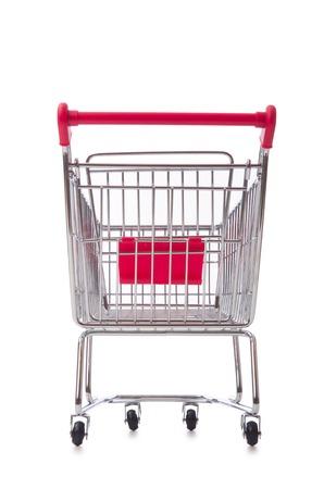 carro supermercado: Compras supermercado carro aislado en el blanco Foto de archivo