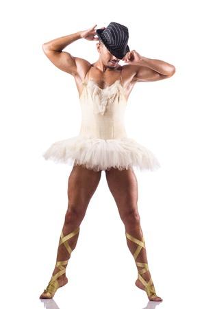 bailarina de ballet: Hombre en tutú que realiza danza del ballet