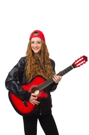 girl playing guitar: Pretty girl with guitar isolated on white Stock Photo