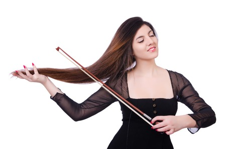 performer: Woman performer playing violin on white