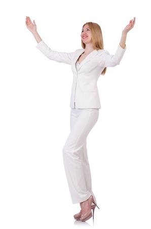 businesslady: Elegant blond businesslady isolated on white Stock Photo